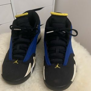 40ea9190911702 Jordan 14s Blue Yellow Black low laney